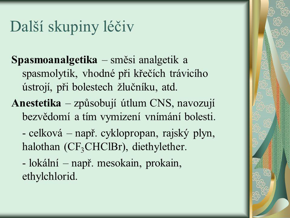 Další skupiny léčiv Spasmoanalgetika – směsi analgetik a spasmolytik, vhodné při křečích trávicího ústrojí, při bolestech žlučníku, atd. Anestetika –