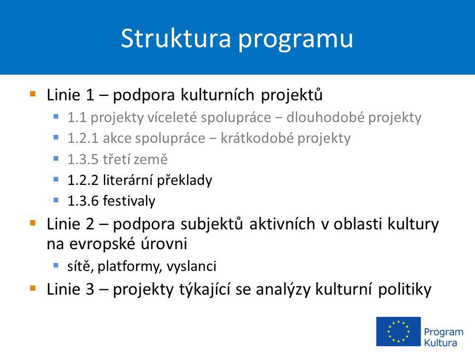 Struktura programu  Linie 1 – podpora kulturních projektů  1.1 projekty víceleté spolupráce − dlouhodobé projekty  1.2.1 akce spolupráce − krátkodobé projekty  1.3.5 třetí země  1.2.2 literární překlady  1.3.6 festivaly  Linie 2 – podpora subjektů aktivních v oblasti kultury na evropské úrovni  sítě, platformy, vyslanci  Linie 3 – projekty týkající se analýzy kulturní politiky