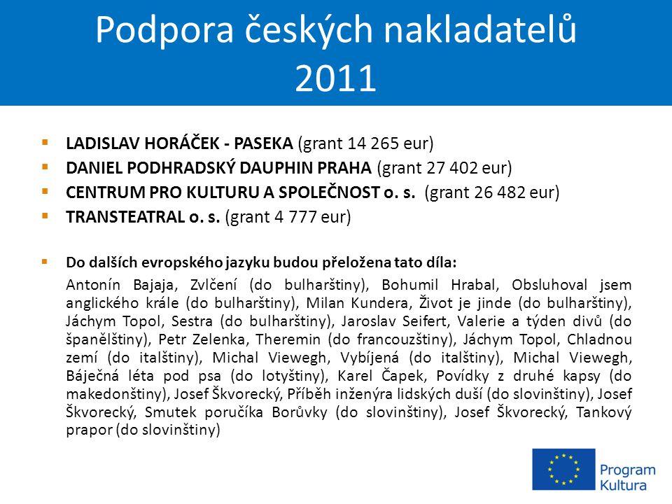 Podpora českých nakladatelů 2011  LADISLAV HORÁČEK - PASEKA (grant 14 265 eur)  DANIEL PODHRADSKÝ DAUPHIN PRAHA (grant 27 402 eur)  CENTRUM PRO KULTURU A SPOLEČNOST o.