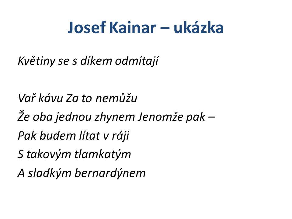 Josef Kainar – ukázka Květiny se s díkem odmítají Vař kávu Za to nemůžu Že oba jednou zhynem Jenomže pak – Pak budem lítat v ráji S takovým tlamkatým