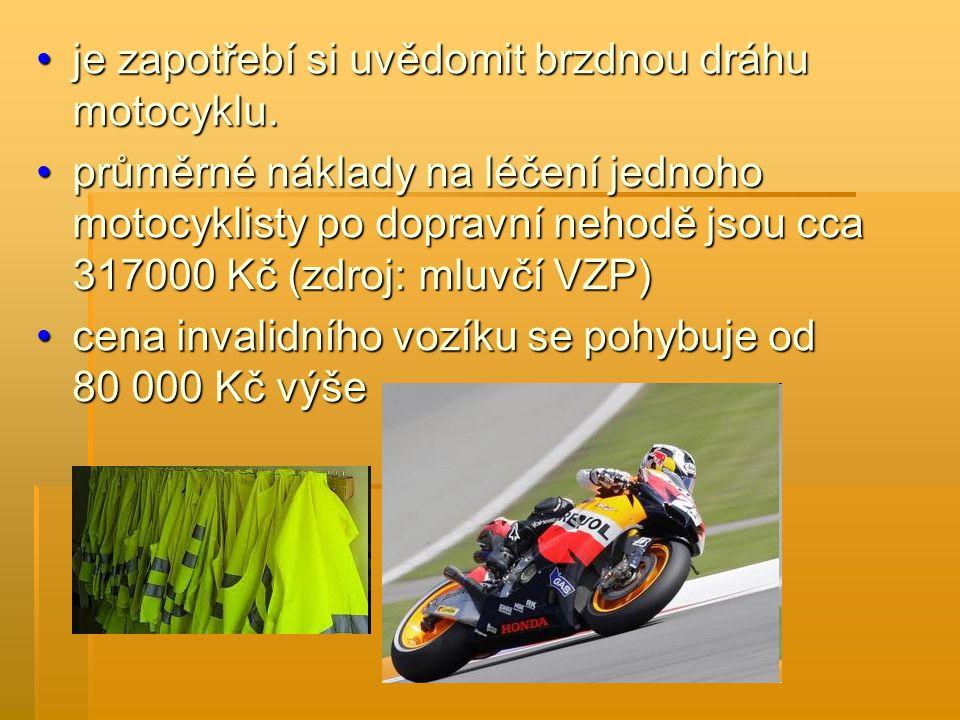 Motocyklisté by si měli uvědomit, že: patří k nejzranitelnějším účastníkům silničního provozupatří k nejzranitelnějším účastníkům silničního provozu podmínkou jízdy na motocyklu je používání prvků pasivní bezpečnosti; přilba, vhodné oblečení s reflexními prvky, pevná obuv a rukavice jsou nutnostípodmínkou jízdy na motocyklu je používání prvků pasivní bezpečnosti; přilba, vhodné oblečení s reflexními prvky, pevná obuv a rukavice jsou nutností i sebelepší výbava není zárukou bezpečného návratu, pokud motocyklista jede riskantně, zejména pokud nepřizpůsobí rychlost své jízdy stavu pozemní komunikace, hustotě provozu a počasíi sebelepší výbava není zárukou bezpečného návratu, pokud motocyklista jede riskantně, zejména pokud nepřizpůsobí rychlost své jízdy stavu pozemní komunikace, hustotě provozu a počasí