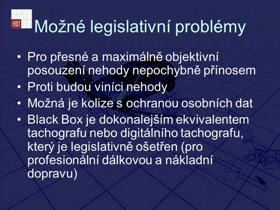 Možné legislativní problémy Pro přesné a maximálně objektivní posouzení nehody nepochybně přínosem Proti budou viníci nehody Možná je kolize s ochrano