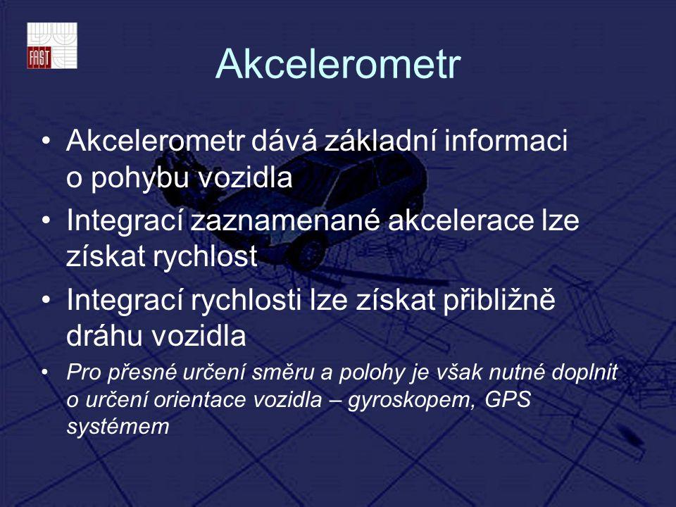Akcelerometr Akcelerometr dává základní informaci o pohybu vozidla Integrací zaznamenané akcelerace lze získat rychlost Integrací rychlosti lze získat
