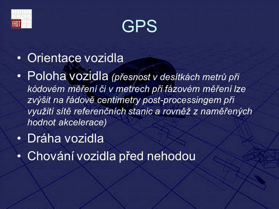 GPS Orientace vozidla Poloha vozidla (přesnost v desítkách metrů při kódovém měření či v metrech při fázovém měření lze zvýšit na řádově centimetry po