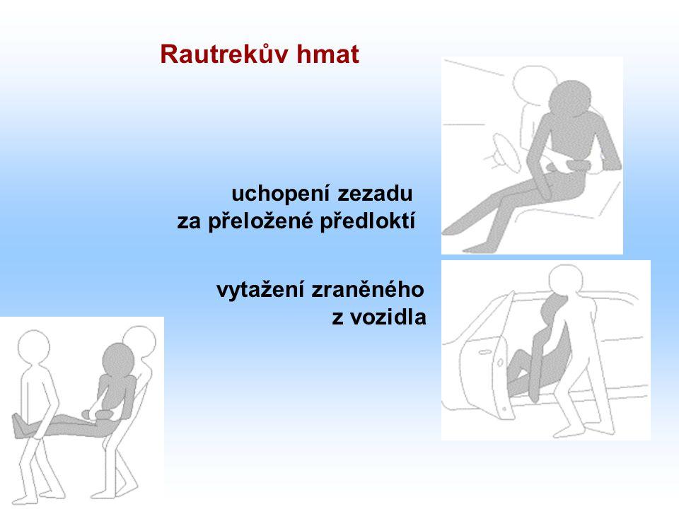 uchopení zezadu za přeložené předloktí vytažení zraněného z vozidla Rautrekův hmat