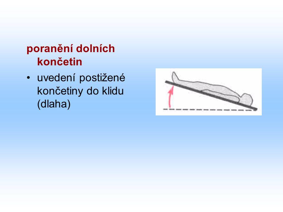 poranění dolních končetin uvedení postižené končetiny do klidu (dlaha)