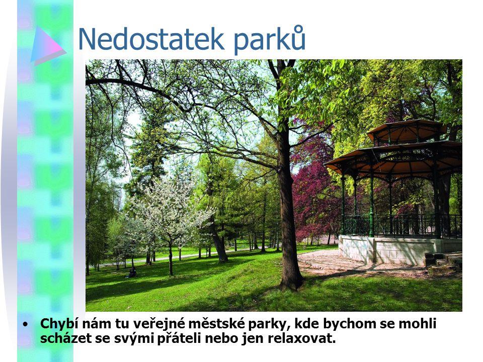Nedostatek parků Chybí nám tu veřejné městské parky, kde bychom se mohli scházet se svými přáteli nebo jen relaxovat.