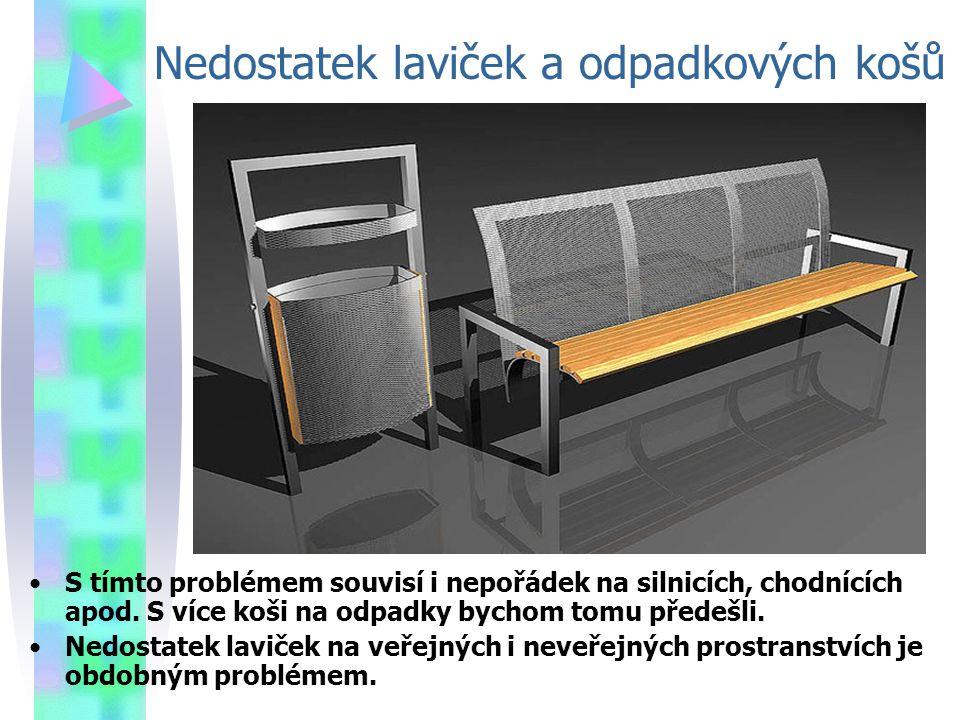 Nedostatek laviček a odpadkových košů S tímto problémem souvisí i nepořádek na silnicích, chodnících apod.