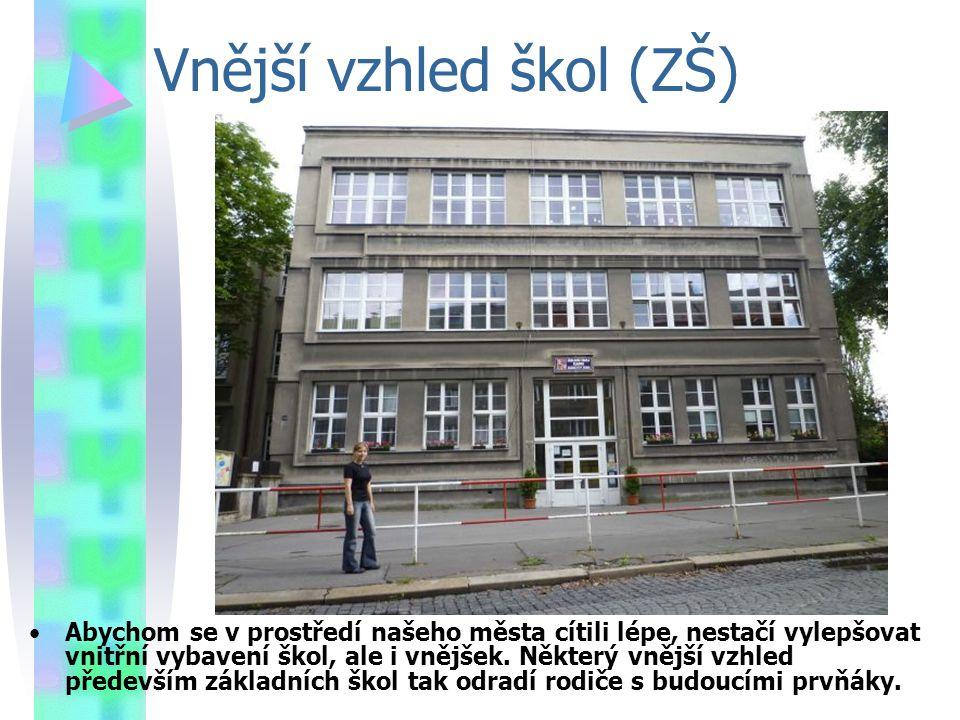 Vnější vzhled škol (ZŠ) Abychom se v prostředí našeho města cítili lépe, nestačí vylepšovat vnitřní vybavení škol, ale i vnějšek.