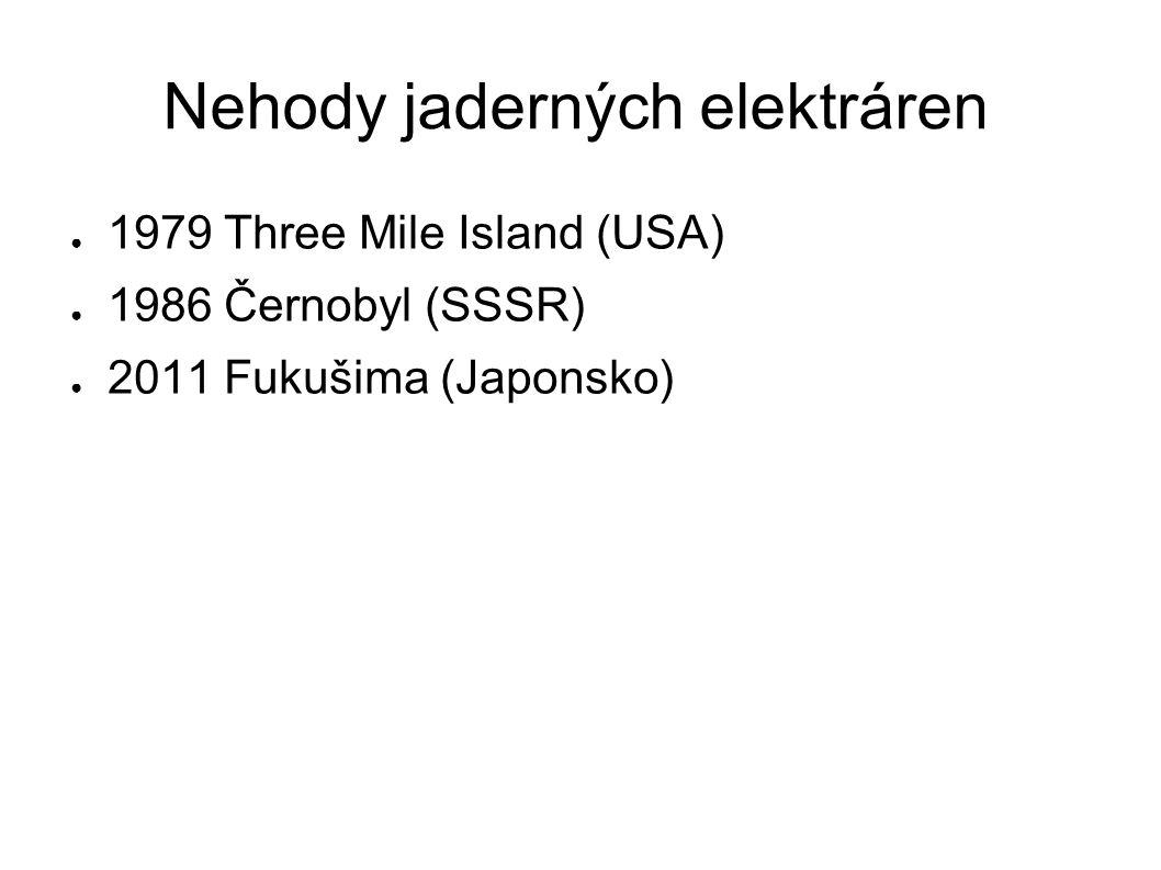 Nehody jaderných elektráren ● 1979 Three Mile Island (USA) ● 1986 Černobyl (SSSR) ● 2011 Fukušima (Japonsko)
