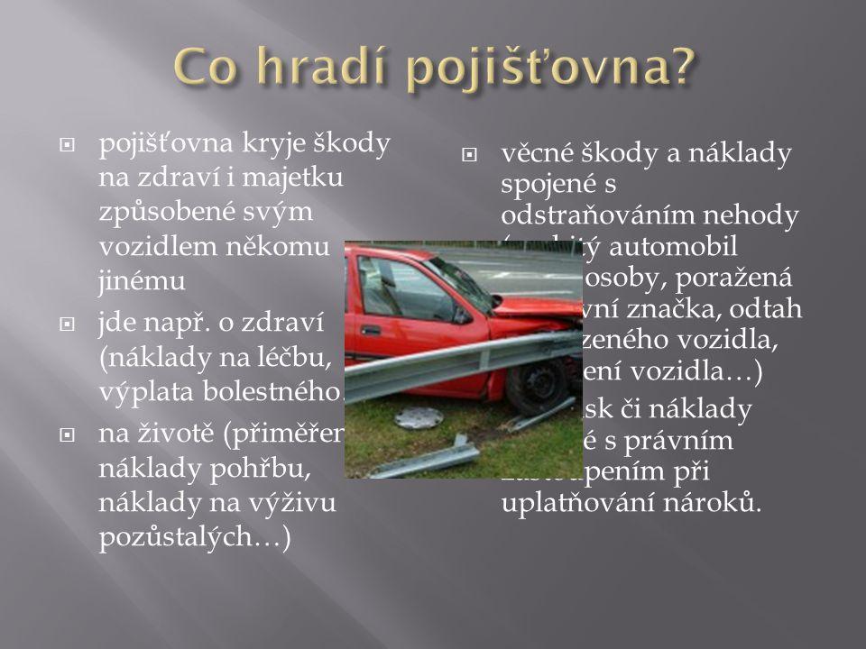  pojišťovna kryje škody na zdraví i majetku způsobené svým vozidlem někomu jinému  jde např.