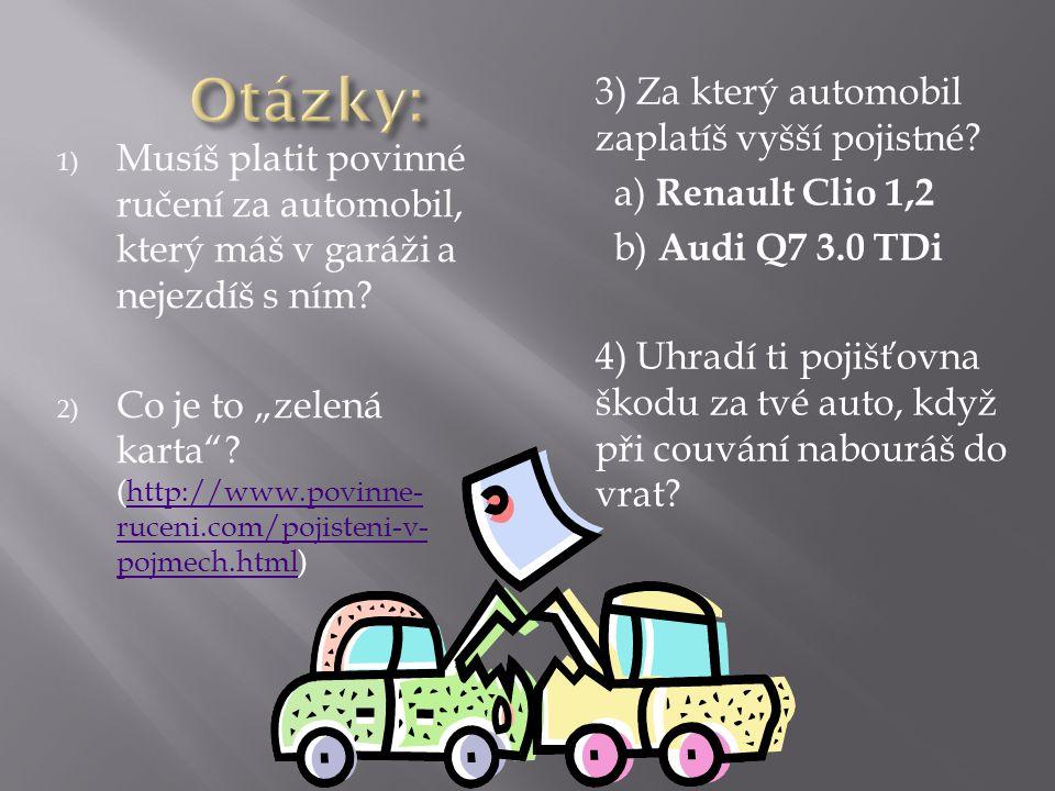 1) Musíš platit povinné ručení za automobil, který máš v garáži a nejezdíš s ním.