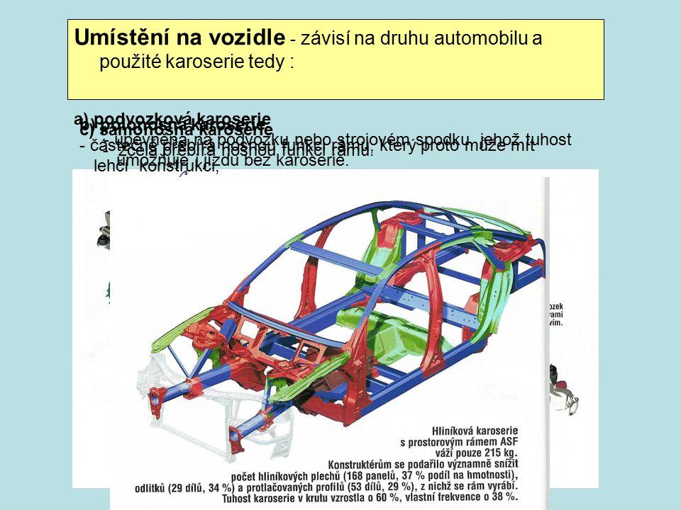 Umístění na vozidle - závisí na druhu automobilu a použité karoserie tedy : a) podvozková karoserie - upevněna na podvozku nebo strojovém spodku, jehož tuhost umožňuje i jízdu bez karoserie.