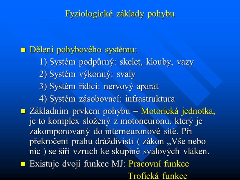 Fyziologické základy pohybu Dělení pohybového systému: Dělení pohybového systému: 1) Systém podpůrný: skelet, klouby, vazy 1) Systém podpůrný: skelet,