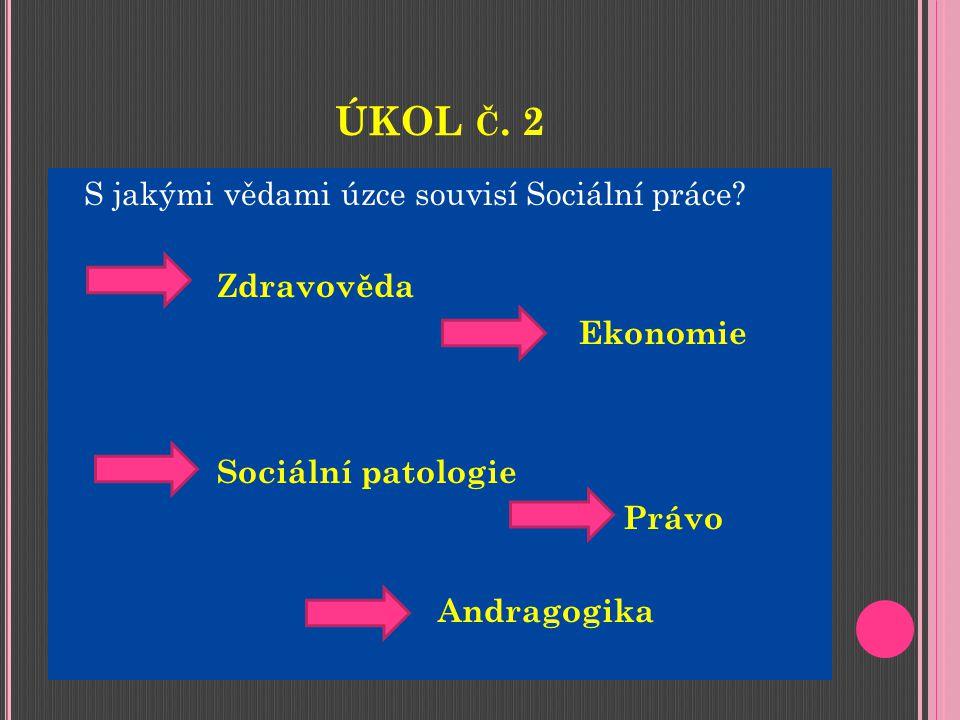 ÚKOL Č. 2 S jakými vědami úzce souvisí Sociální práce.