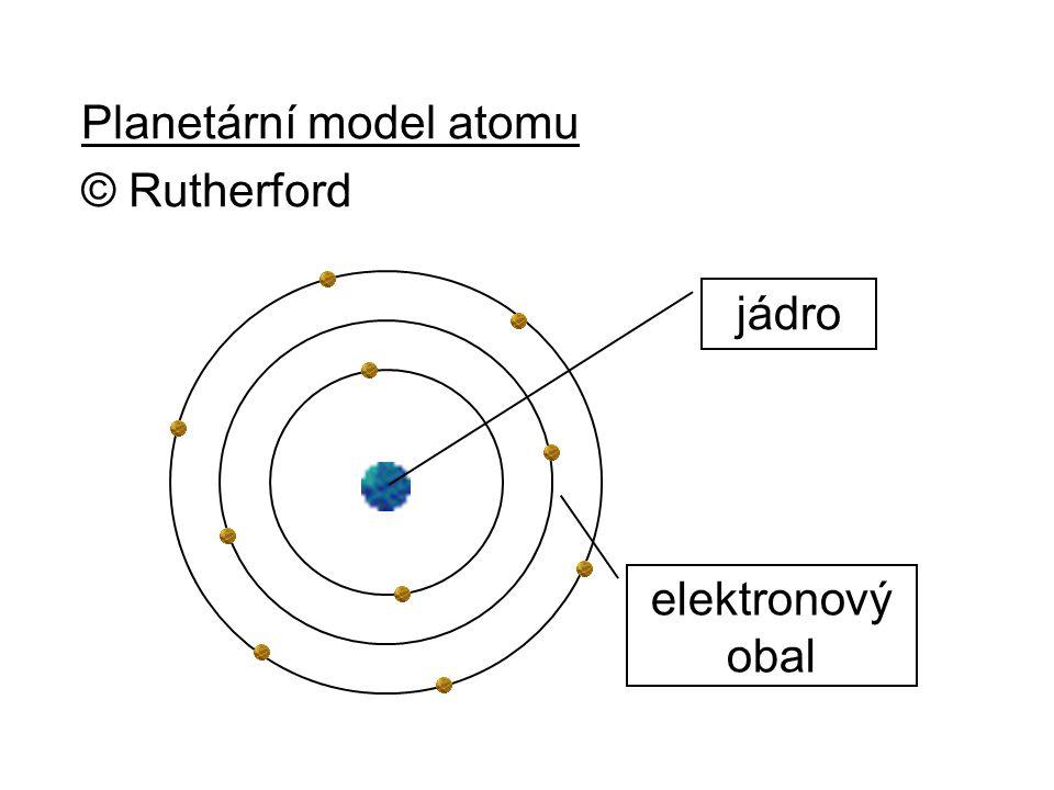 Planetární model atomu © Rutherford jádro elektronový obal