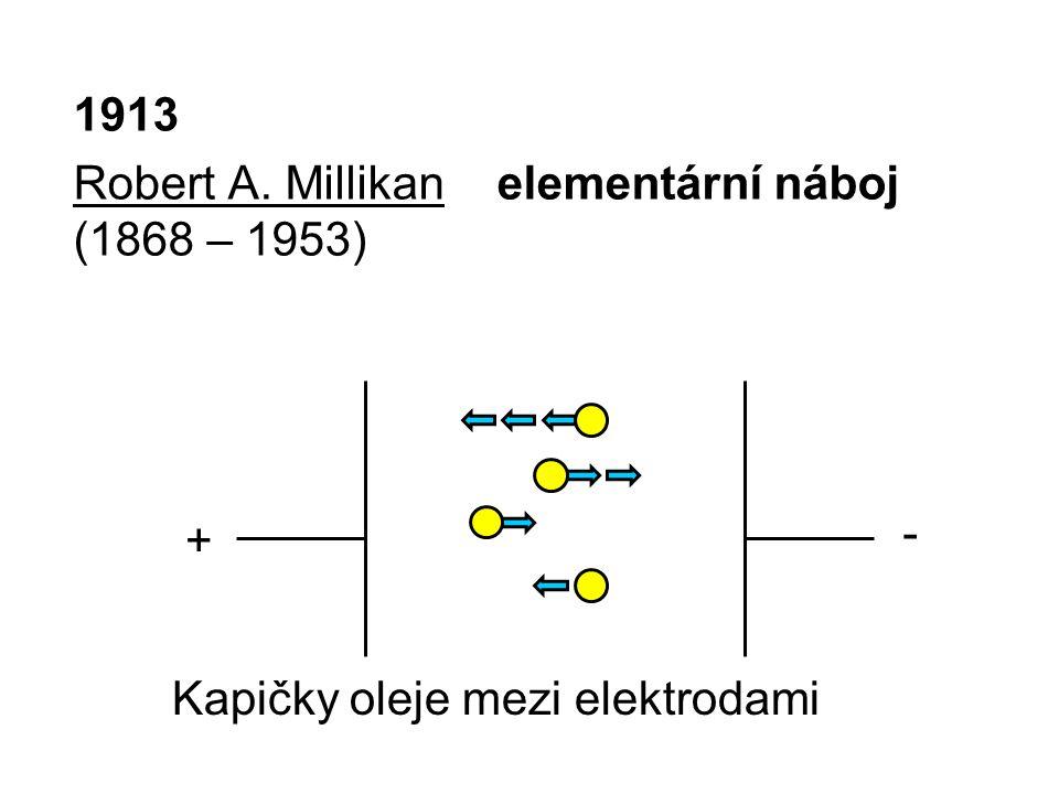 1913 Robert A. Millikan elementární náboj (1868 – 1953) - + Kapičky oleje mezi elektrodami