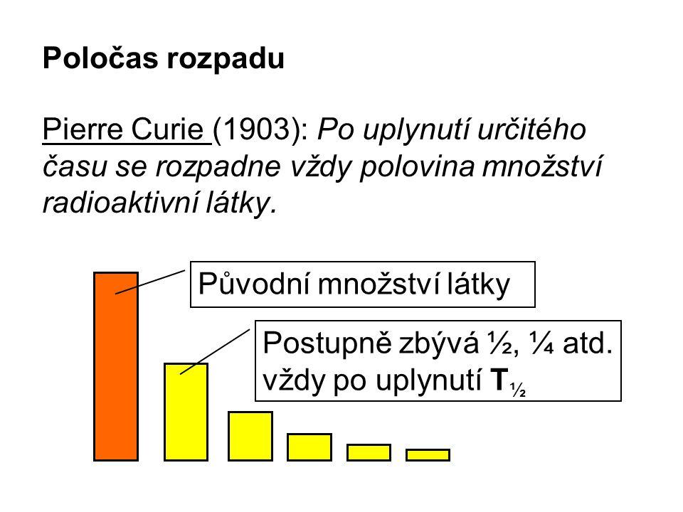 Poločas rozpadu Pierre Curie (1903): Po uplynutí určitého času se rozpadne vždy polovina množství radioaktivní látky.