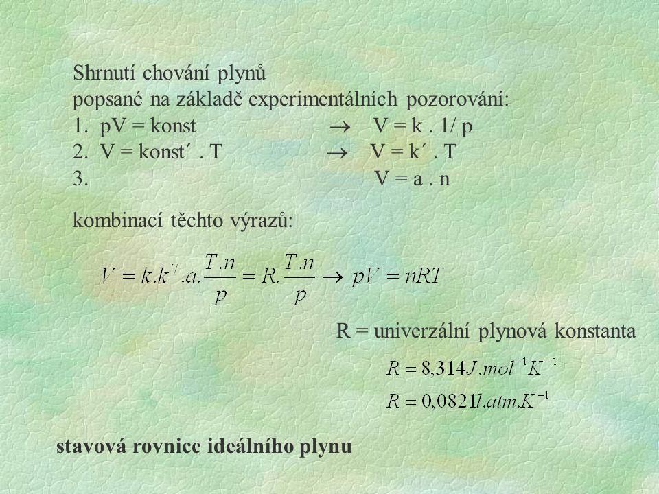 Shrnutí chování plynů popsané na základě experimentálních pozorování: 1. pV = konst  V = k. 1/ p 2. V = konst´. T  V = k´. T