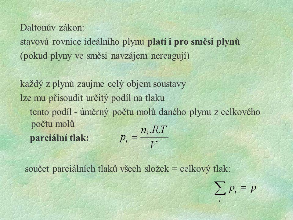 Daltonův zákon: stavová rovnice ideálního plynu platí i pro směsi plynů (pokud plyny ve směsi navzájem nereagují) každý z plynů zaujme celý objem sous