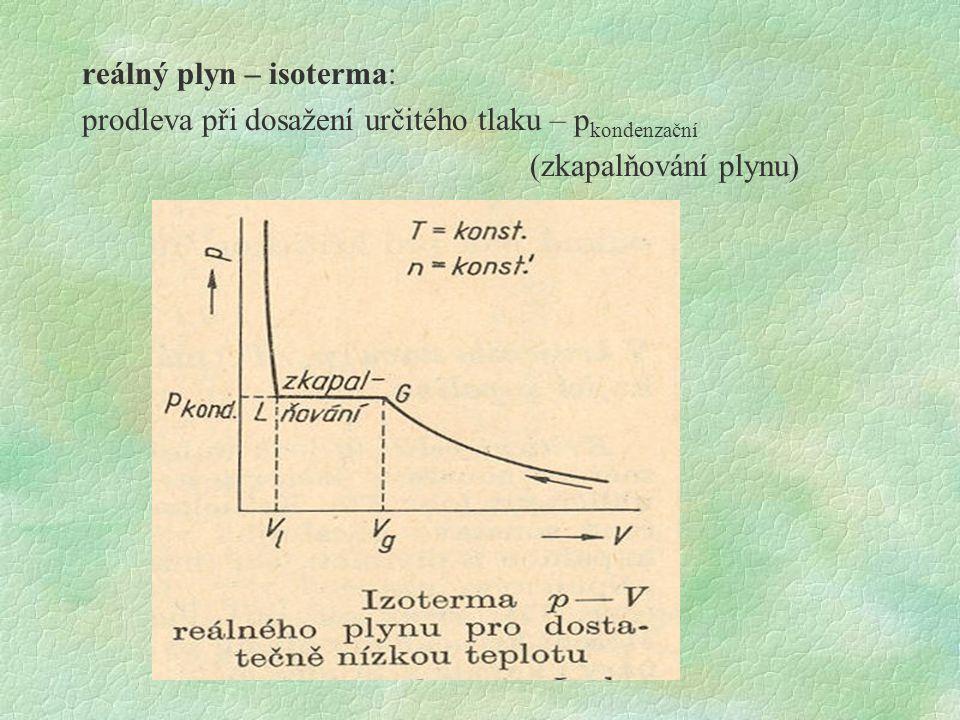 reálný plyn – isoterma: prodleva při dosažení určitého tlaku – p kondenzační (zkapalňování plynu)