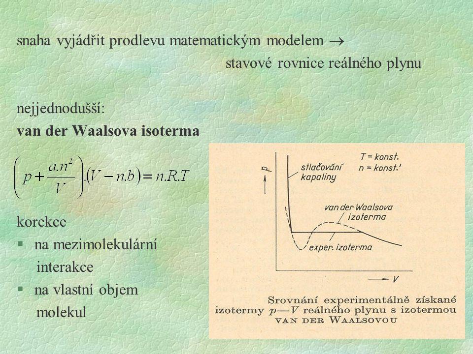 snaha vyjádřit prodlevu matematickým modelem  stavové rovnice reálného plynu nejjednodušší: van der Waalsova isoterma korekce §na mezimolekulární int
