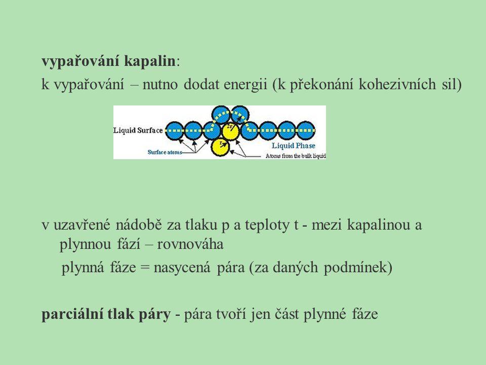 vypařování kapalin: k vypařování – nutno dodat energii (k překonání kohezivních sil) v uzavřené nádobě za tlaku p a teploty t - mezi kapalinou a plynn
