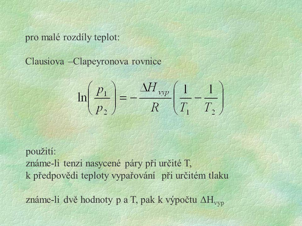 pro malé rozdíly teplot: Clausiova –Clapeyronova rovnice použití: známe-li tenzi nasycené páry při určité T, k předpovědi teploty vypařování při určit