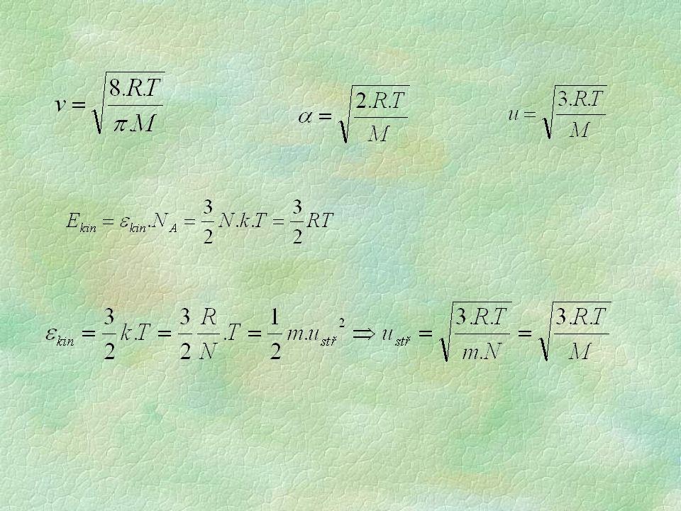 distribuce rychlostí pro různé teploty: pomocí tepelného pohybu definována dolní mez teploty - absolutní nula (0 K) odpovídá stavu, kdy by ustal veškerý pohyb molekul (částic)
