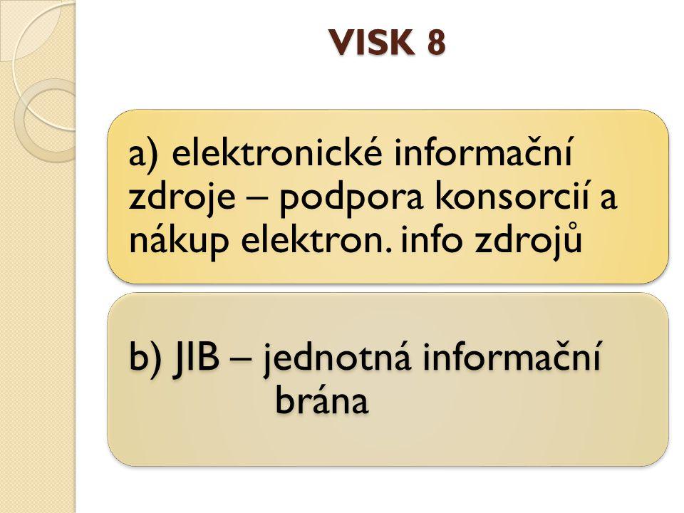 VISK 8 a) elektronické informační zdroje – podpora konsorcií a nákup elektron.
