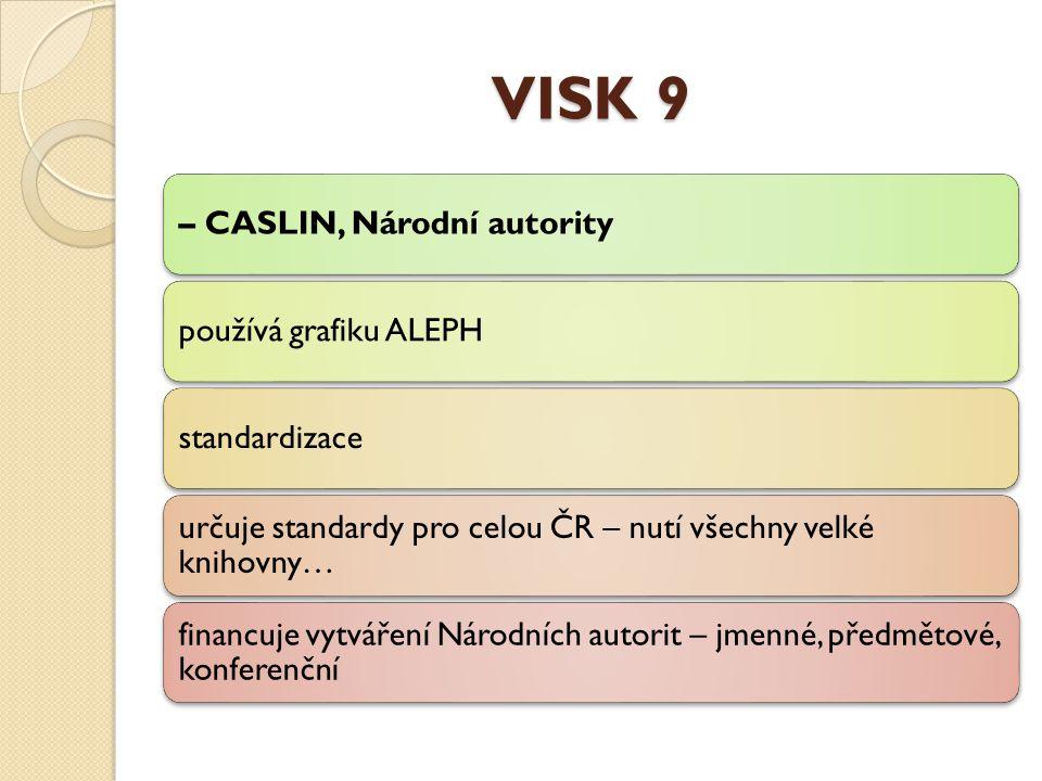 VISK 9 – CASLIN, Národní autoritypoužívá grafiku ALEPHstandardizace určuje standardy pro celou ČR – nutí všechny velké knihovny… financuje vytváření Národních autorit – jmenné, předmětové, konferenční