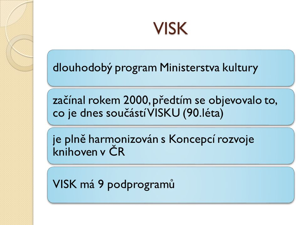VISK dlouhodobý program Ministerstva kultury začínal rokem 2000, předtím se objevovalo to, co je dnes součástí VISKU (90.léta) je plně harmonizován s Koncepcí rozvoje knihoven v ČR VISK má 9 podprogramů