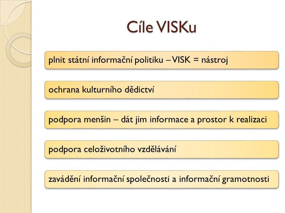 Cíle VISKu plnit státní informační politiku – VISK = nástrojochrana kulturního dědictvípodpora menšin – dát jim informace a prostor k realizacipodpora celoživotního vzdělávánízavádění informační společnosti a informační gramotnosti