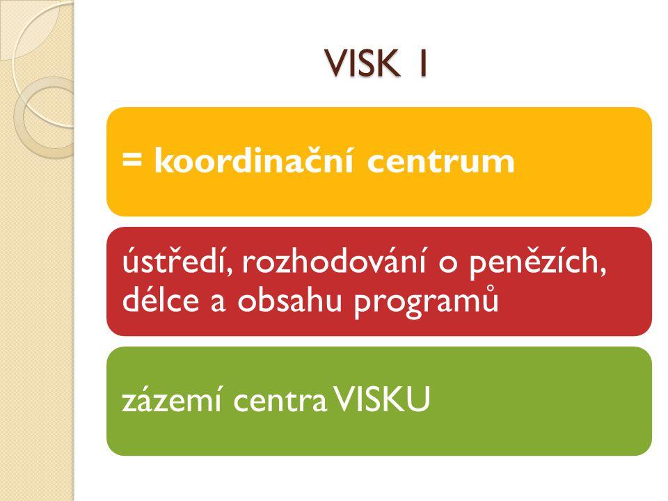 VISK 1 = koordinační centrum ústředí, rozhodování o penězích, délce a obsahu programů zázemí centra VISKU