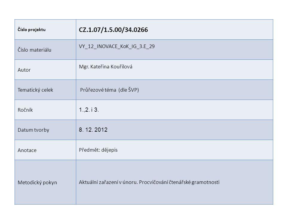 Číslo projektu CZ.1.07/1.5.00/34.0266 Číslo materiálu VY_12_INOVACE_KoK_IG_3.E_29 Autor Mgr. Kateřina Kouřilová Tematický celek Průřezové téma (dle ŠV