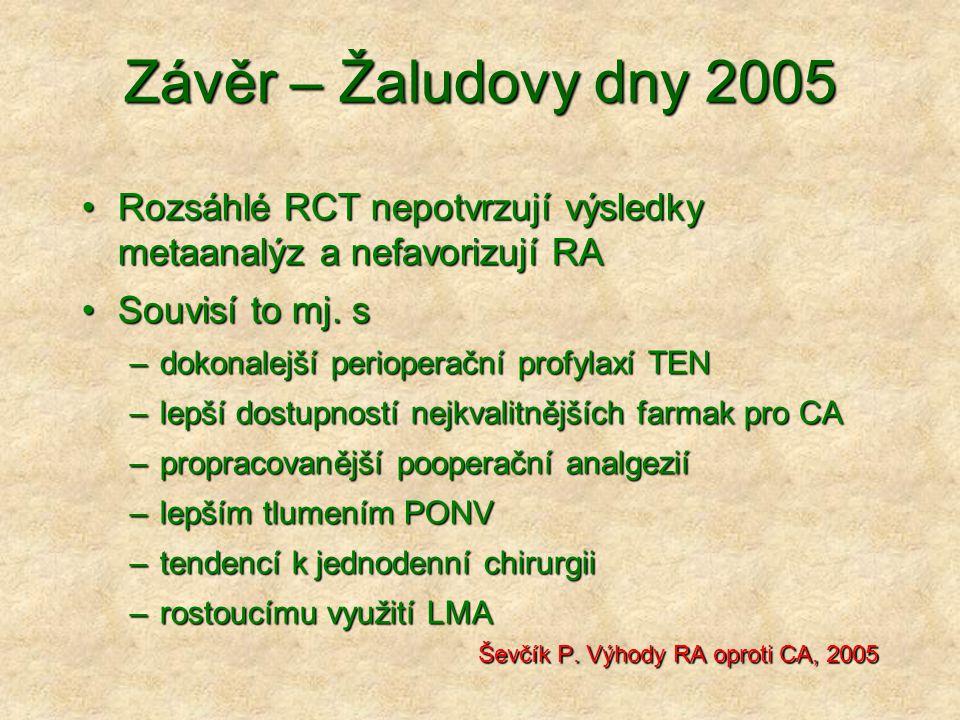 Závěr – Žaludovy dny 2005 Rozsáhlé RCT nepotvrzují výsledky metaanalýz a nefavorizují RARozsáhlé RCT nepotvrzují výsledky metaanalýz a nefavorizují RA Souvisí to mj.