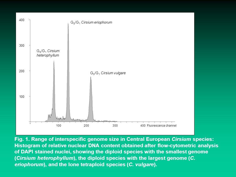 G 0 /G 1 Cirsium heterophyllum G 0 /G 1 Cirsium eriophorum G 0 /G 1 Cirsium vulgare 100 200 300 400 Fluorescence channel 400 300 200 100 Fig. 1. Range