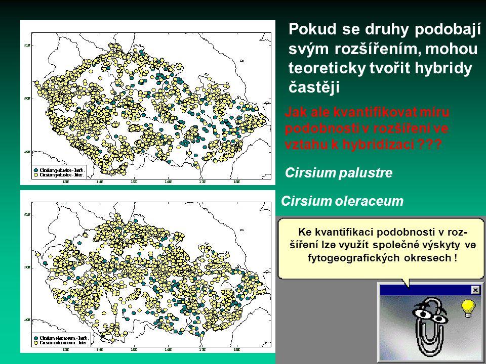 Cirsium palustre Cirsium oleraceum Pokud se druhy podobají svým rozšířením, mohou teoreticky tvořit hybridy častěji Ke kvantifikaci podobnosti v roz-