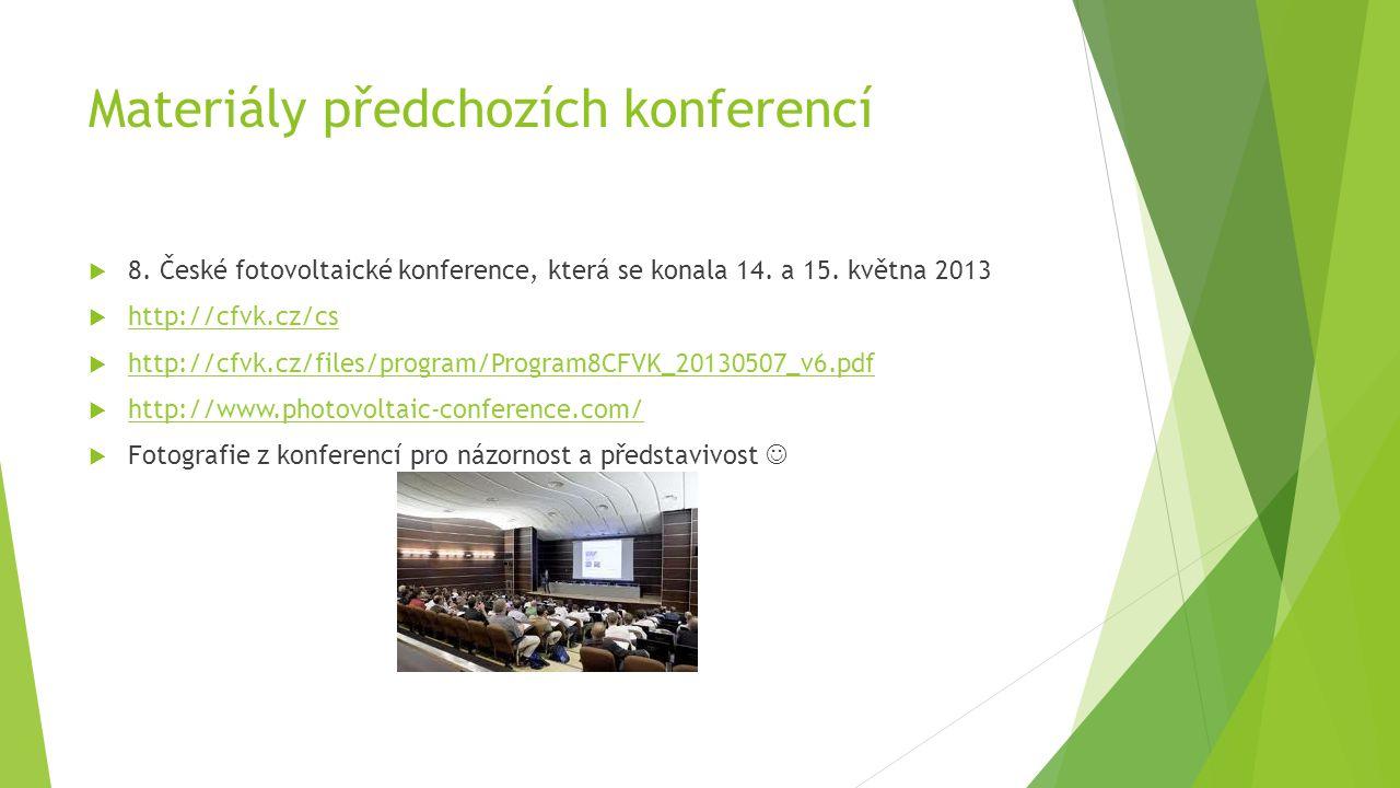 Materiály předchozích konferencí  8. České fotovoltaické konference, která se konala 14.