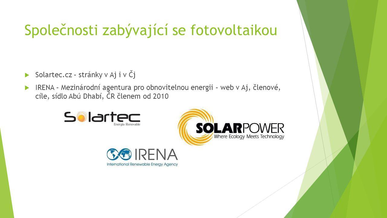 Společnosti zabývající se fotovoltaikou  Solartec.cz – stránky v Aj i v Čj  IRENA – Mezinárodní agentura pro obnovitelnou energii – web v Aj, členové, cíle, sídlo Abú Dhabí, ČR členem od 2010