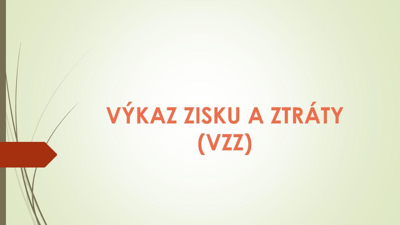 Definice Slouží ke zjištění zisku a způsobu tvorby složek VH  Zahrnuje náklady a výnosy  VÝNOSY – NÁKLADY = VÝSLEDEK HOSPODAŘENÍ (VH) Struktura VZZ v ČR je založena na zjednodušeném druhovém členění nákladů, tj.