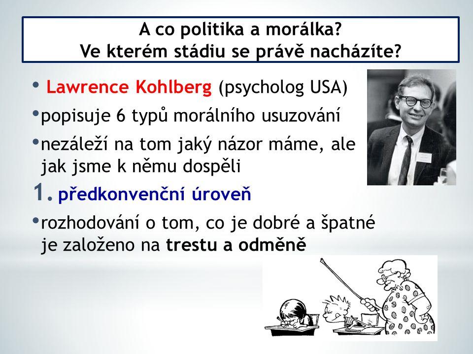 Lawrence Kohlberg (psycholog USA) popisuje 6 typů morálního usuzování nezáleží na tom jaký názor máme, ale jak jsme k němu dospěli 1. předkonvenční úr