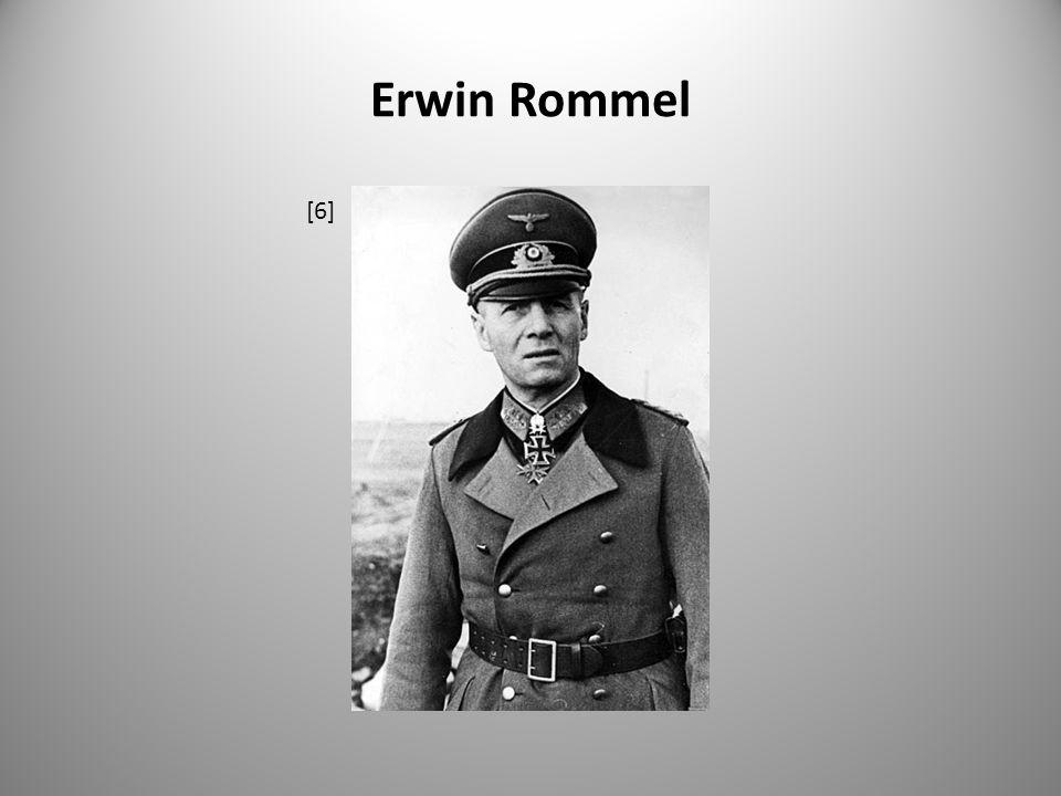 Erwin Rommel 15.leden 1944 – Rommel se ujal velení všech německých jednotek určených k odražení invaze v západní Francii apeluje na Hitlera, aby si uvědomil vážnost situace 17.7.1944 – Rommel unikl smrti, když britský bombardér vytlačil jeho auto ze silnice v době atentátu na Hitlera – (20.7.1944 ) leží v nemocnici neexistuje důkaz o tom, že by Rommel věděl o chystaném atentátu spiklenci se pravděpodobně obrátili na Rommela - jako na respektovaného vojenského velitele a chtěli, aby donutil Hitlera jednat o příměří Hitler přežil zázrakem, nastala vlna zatýkání Hitler nechce ohledně Rommela riskovat skandál, před obviněním z velezrady u soudu dává přednost nařízené sebevraždě 14.10.1944 dva generálové Wilhelm Burgdorf a Ernst Maisel navštívili vilu E.Rommela poblíž Ulmu, přivezli Hitlerovo ultimátum Rommel se rozloučil s rodinou, vsedl do auta, odjel mimo dům, přijal ampuli s jedem a na zadním sedadle vozu se otrávil