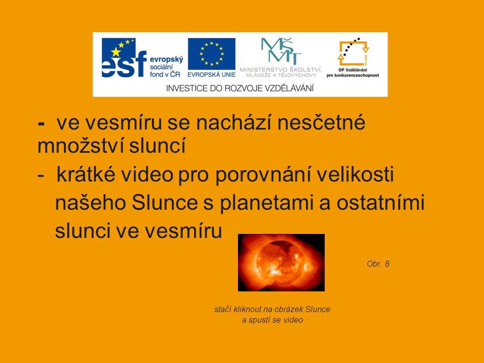 - ve vesmíru se nachází nesčetné množství sluncí - krátké video pro porovnání velikosti našeho Slunce s planetami a ostatními slunci ve vesmíru Obr. 8
