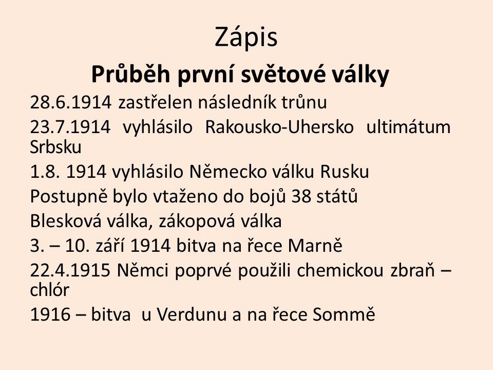 Zápis Průběh první světové války 28.6.1914 zastřelen následník trůnu 23.7.1914 vyhlásilo Rakousko-Uhersko ultimátum Srbsku 1.8.