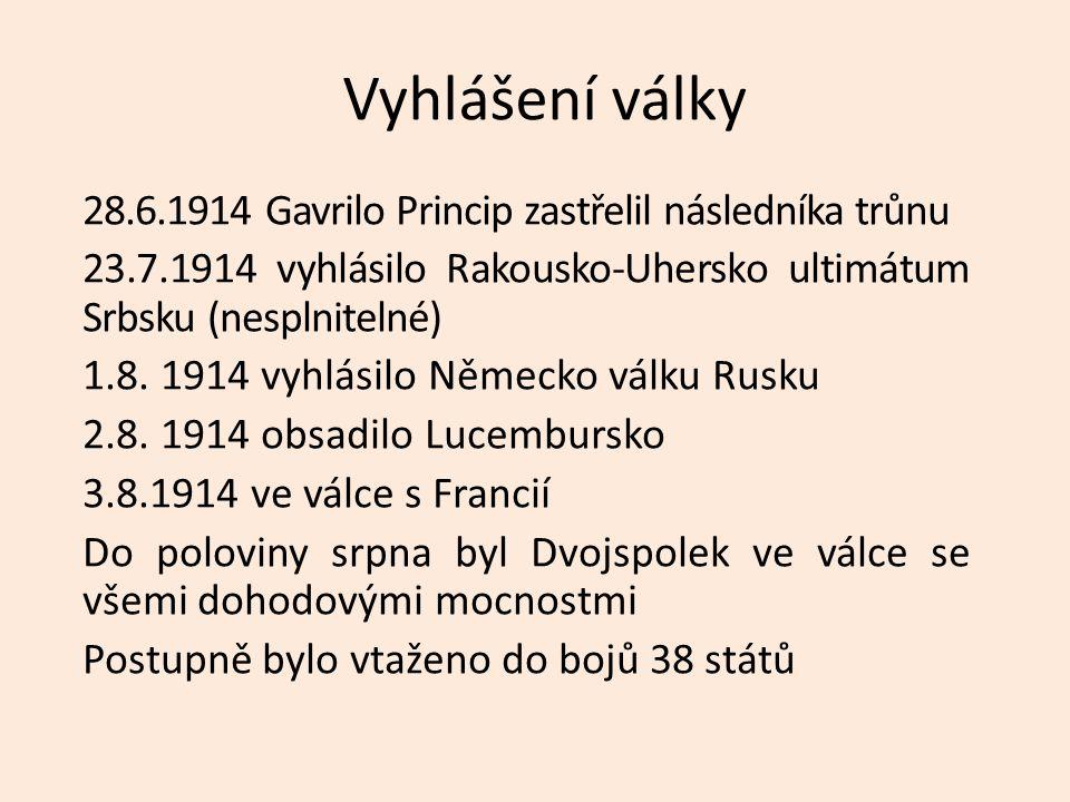Vyhlášení války 28.6.1914 Gavrilo Princip zastřelil následníka trůnu 23.7.1914 vyhlásilo Rakousko-Uhersko ultimátum Srbsku (nesplnitelné) 1.8.