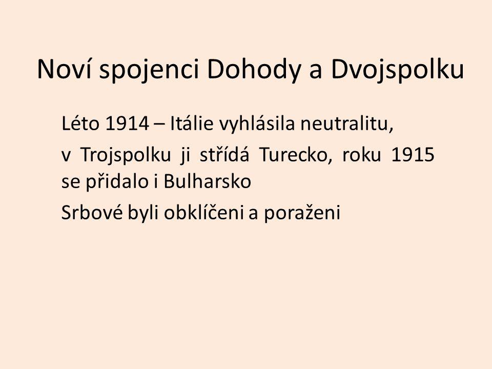 Noví spojenci Dohody a Dvojspolku Léto 1914 – Itálie vyhlásila neutralitu, v Trojspolku ji střídá Turecko, roku 1915 se přidalo i Bulharsko Srbové byli obklíčeni a poraženi