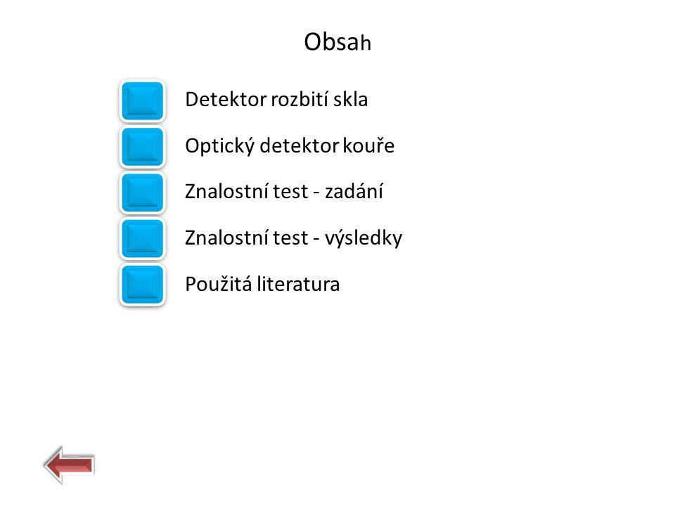Obsa h Detektor rozbití skla Optický detektor kouře Znalostní test - zadání Znalostní test - výsledky Použitá literatura