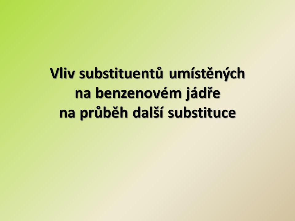 Vliv substituentů umístěných na benzenovém jádře na průběh další substituce