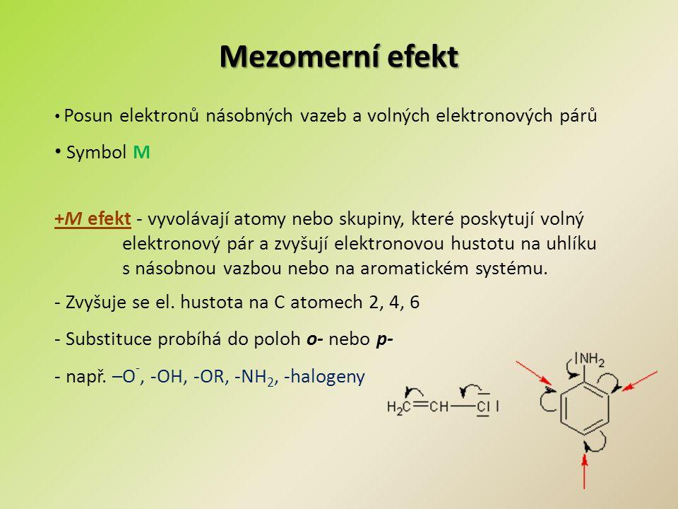 Mezomerní efekt -M efekt - vyvolávají skupiny (s násobnou vazbou), které elektrony odčerpávají – dochází tak k elektronovému zředění - Snižuje se π-hustota v konjugovaném systému - Substituce probíhá do poloh m- - např.